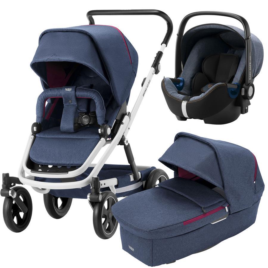 Britax Kinderwagenset Go Big 2 mit Aufsatz Go Oxford Navy Gestellfarbe White und Babyschale Baby-Safe 2 i-Size Blue Marble