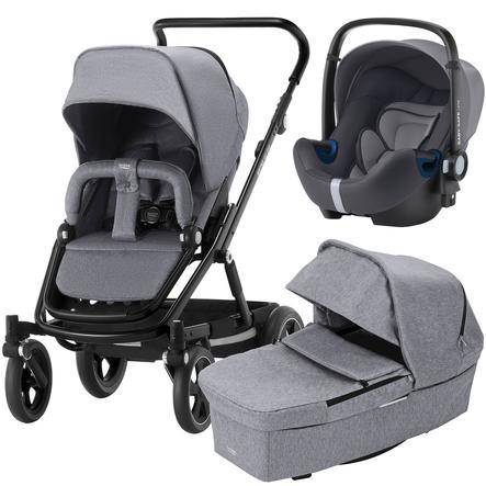 Britax Kinderwagenset Go Big² mit Aufsatz Go Grey Melange Gestellfarbe Black und Babyschale Baby-Safe² i-Size Storm Grey