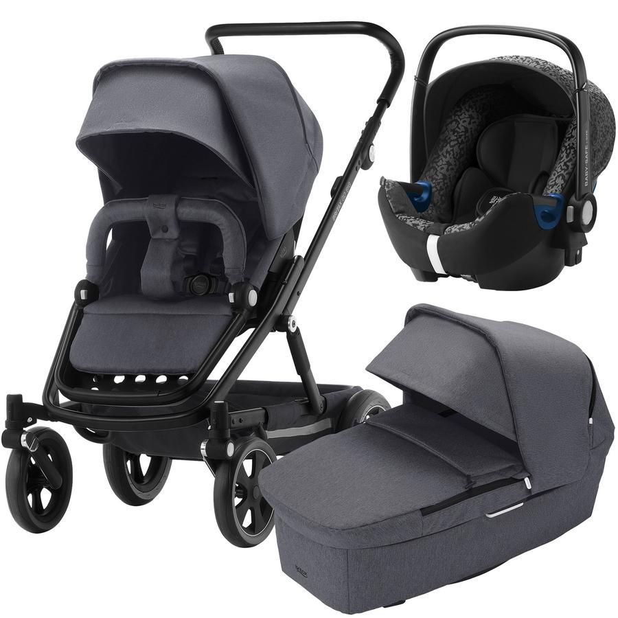 Britax Kinderwagenset Go Big² mit Aufsatz Go Graphite Melange Gestellfarbe Matte Black und Babyschale Baby-Safe² i-Size Mystic Black