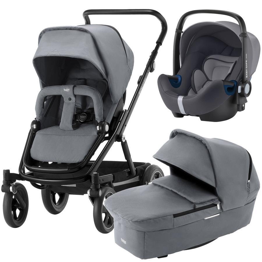 Britax Kinderwagenset Go Big² mit Aufsatz Go Steel Grey Gestellfarbe Black und Babyschale Baby-Safe² i-Size Storm Grey