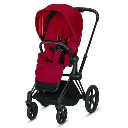 cybex PLATINUM Kinderwagen Priam - Rahmen Matt Black inklusive Sitz in True Red