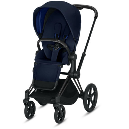 cybex PLATINUM Kinderwagen Priam - Rahmen Matt Black inklusive Sitz in Indigo Blue