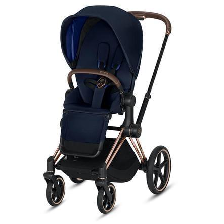 cybex PLATINUM Kinderwagen Priam - Rahmen Rosegold inklusive Sitz in Indigo Blue