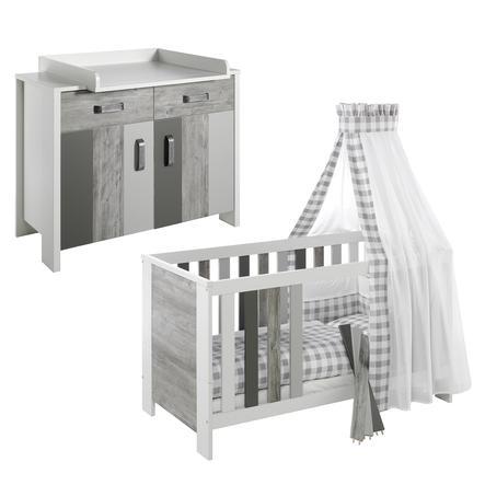 SCHARDT Woody Grey Kit chambre enfant avec lit kit de transformation commode  et plateau