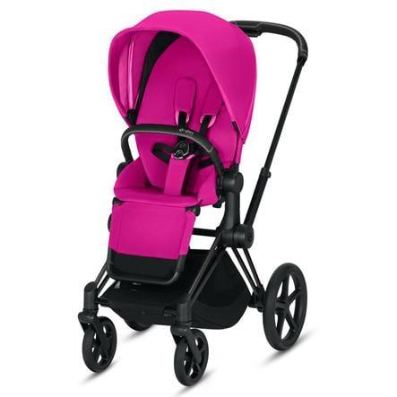 cybex PLATINUM Kinderwagen Priam - Rahmen Matt Black inklusive Sitz in Fancy Pink