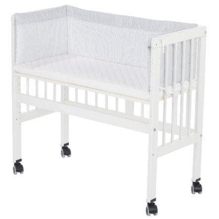 Alvi® Lettino co-sleeping per letto a casse elastiche, bianco 631-9 Little Dots grey