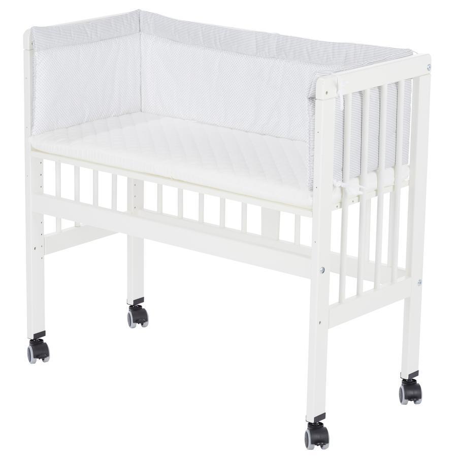 Alvi® přístavná postýlka k posteli Boxspring bílá kompletní sada 631-9 Little Dots grey