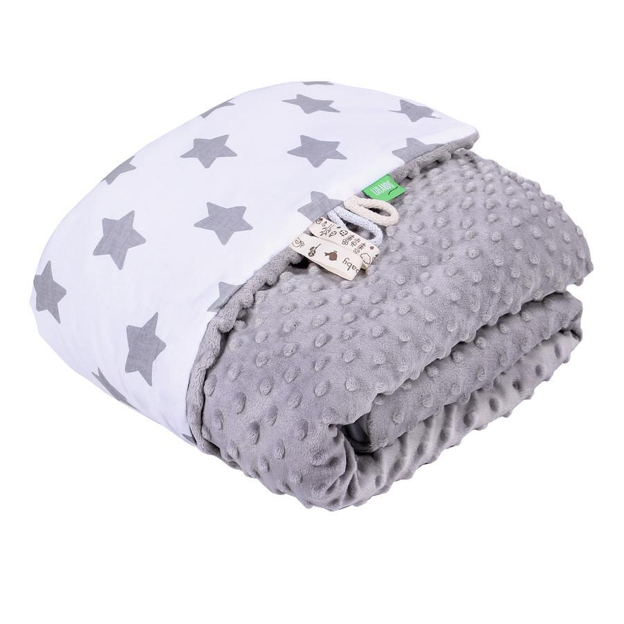 LULANDO Babydecke Minky Sterne weiß/grau 100 x 140 cm