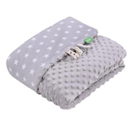 LULANDO Manta para bebé Minky Estrellas gris 100 x 140 cm