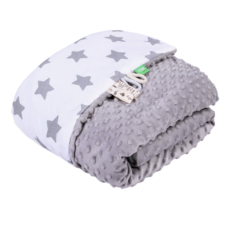 LULANDO Kocyk Minky Stars white/grey 80 x 100 cm