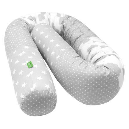 LULANDO hnízdečko, šedivé puntíky, bílé mráčky, šedivé hvězdičky, 190 cm