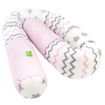 LULANDO Tour de lit enfant traversin pois rose zigzag étoile blanc 190 cm