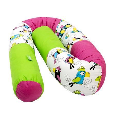 LULANDO Tour de lit enfant traversin perroquet rouge foncé vert 190 cm