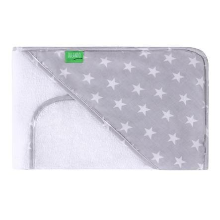 LULANDO Kapuzenbadetuch inkl. Waschlappen Sternchen grau weiß 80 x 100 cm