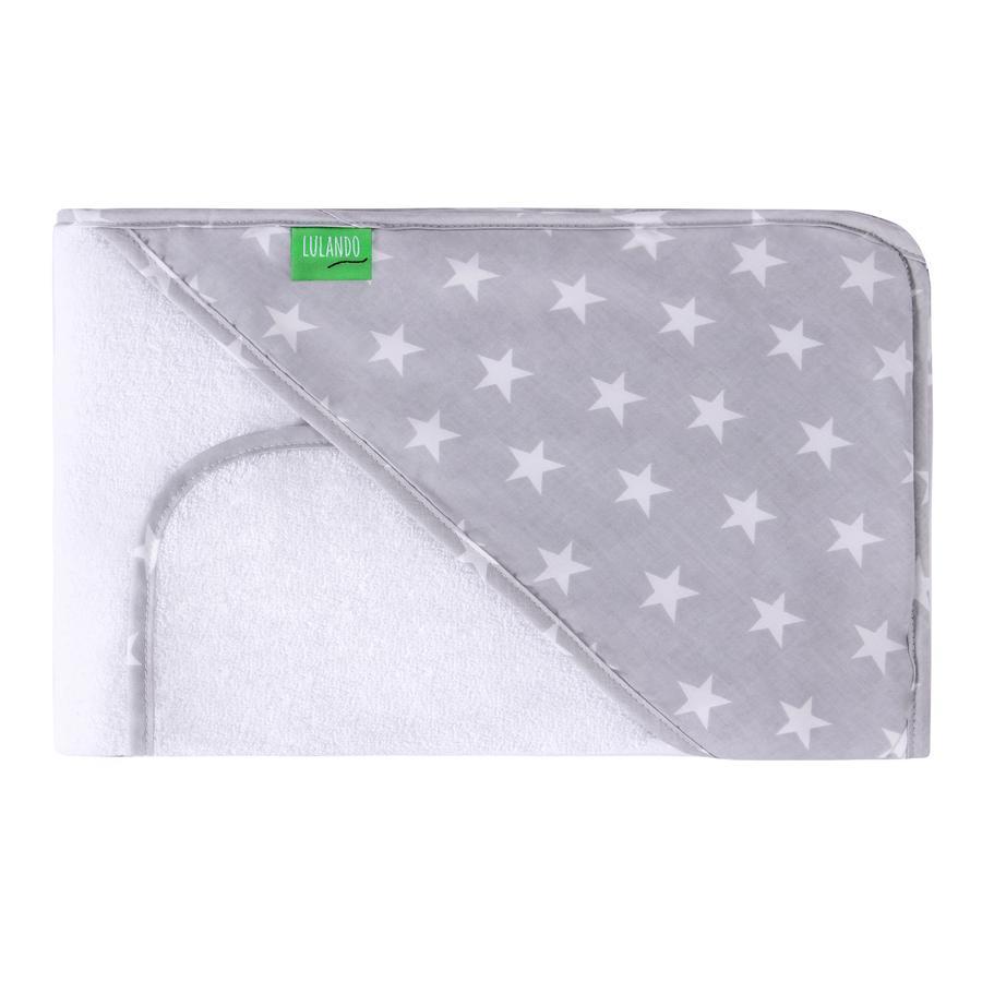 LULANDORęcznik kąpielowy z kapturem i myjka Gwiazdy 80 x 100 cm, kolor biały/szary