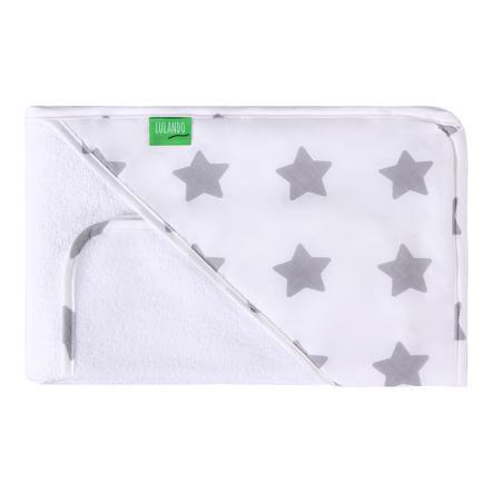 LULANDO hupullinen kylpypyyhe mukana. pyyheliina tähdet valkoinen 80 x 100 cm