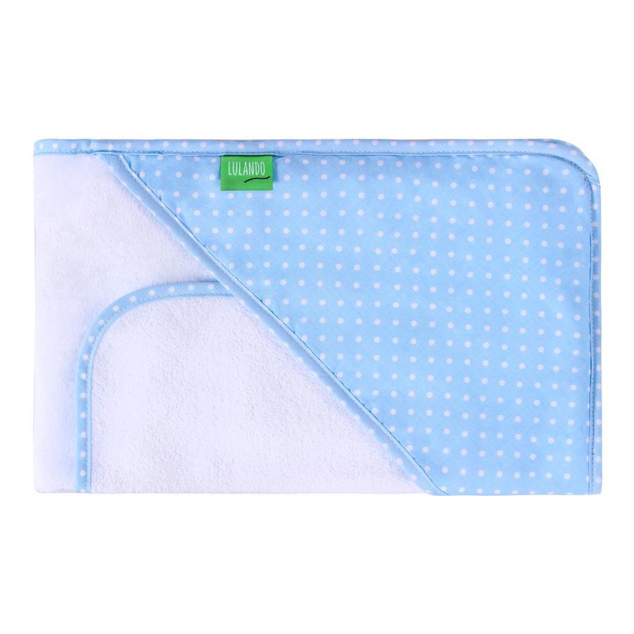 LULANDO Cape de bain enfant et gant pois bleu/blanc 80x100 cm