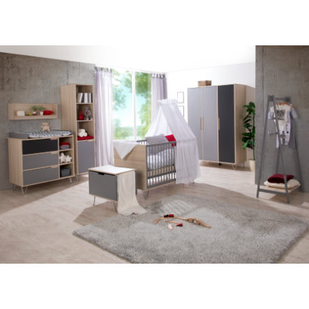 Geuther Ensemble lit bébé commode à langer armoire Marit anthracite