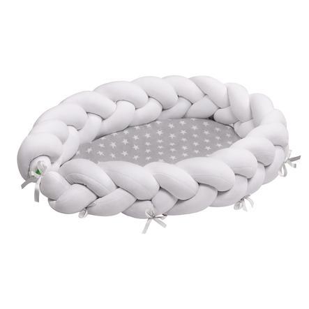 LULANDO multifunksjonelt babynest flettedesign hvit stjerne/ grå