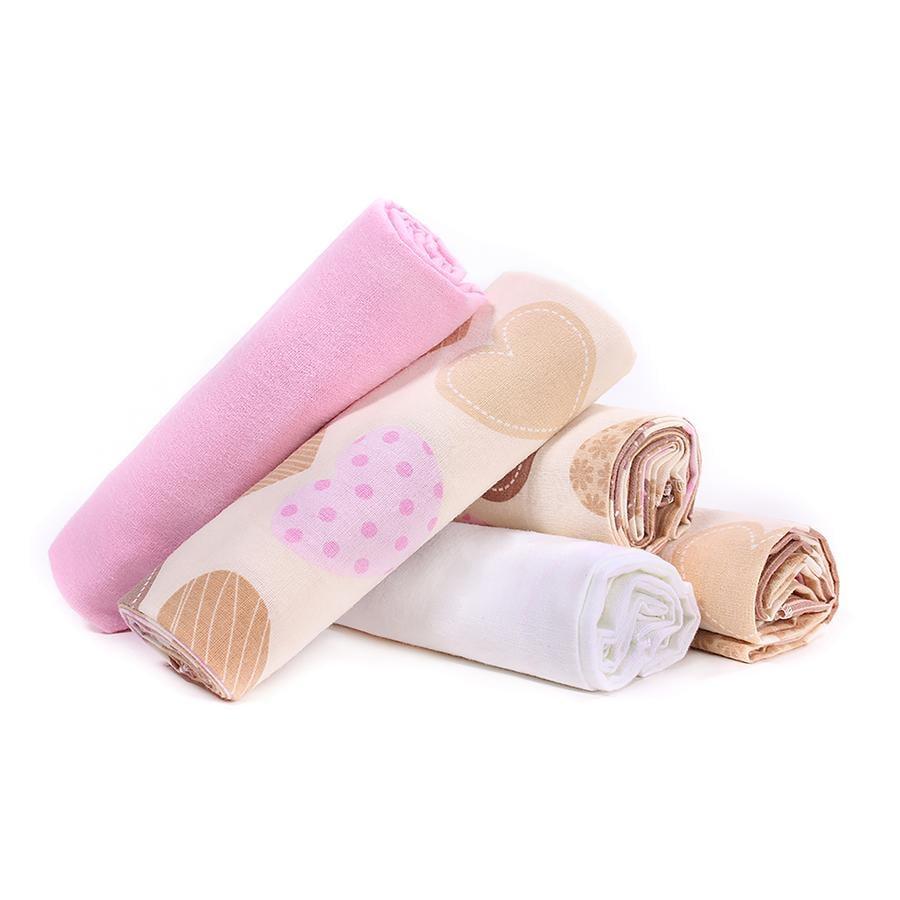 LULANDO Pannolini di stoffa pacco da 5, cuori rosa/bianco 70 x 80 cm