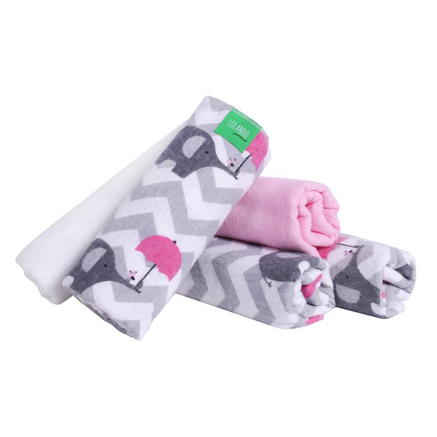 LULANDO Couches tissu éléphants blanc/rose 70x80 cm 5 pièces