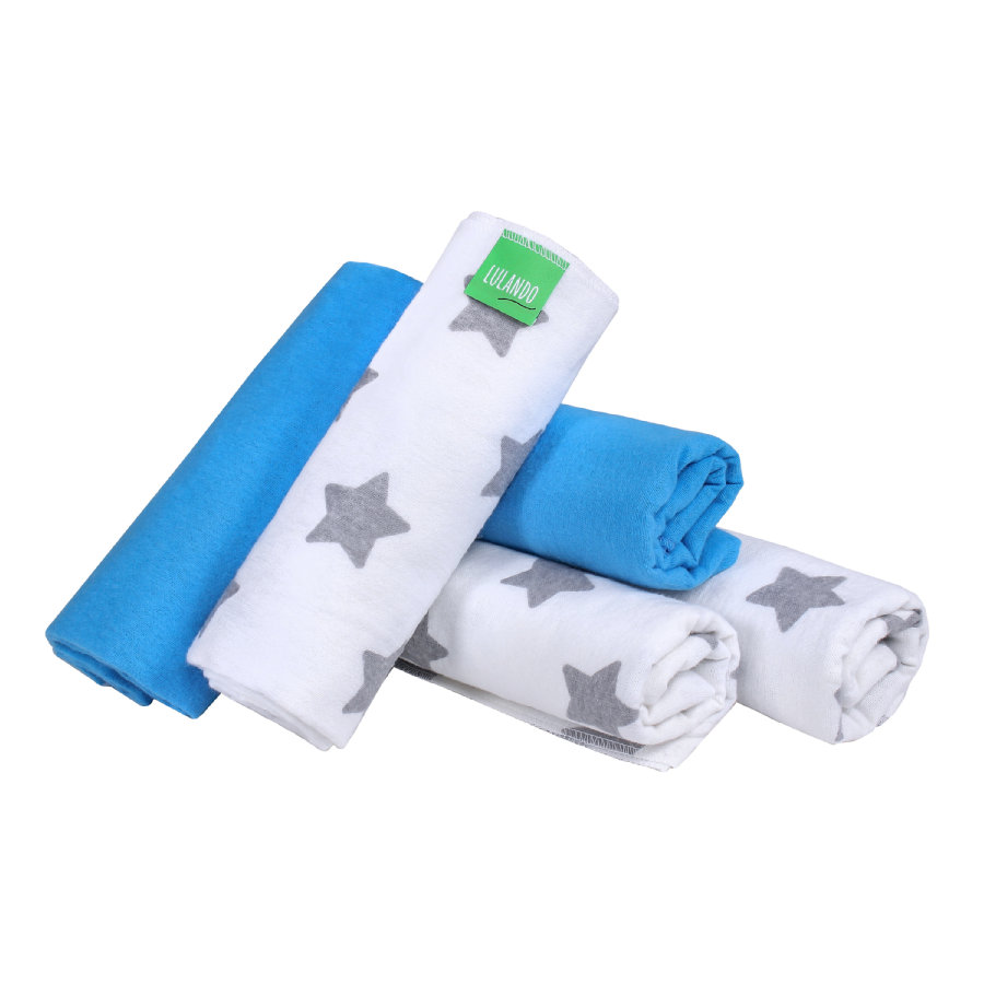 LULANDO kangasvaipat 5 kpl tähtiä sininen / valkoinen 70 x 80 cm