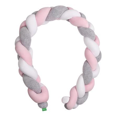 Tour de lit enfant tressé gris/rose/blanc ...