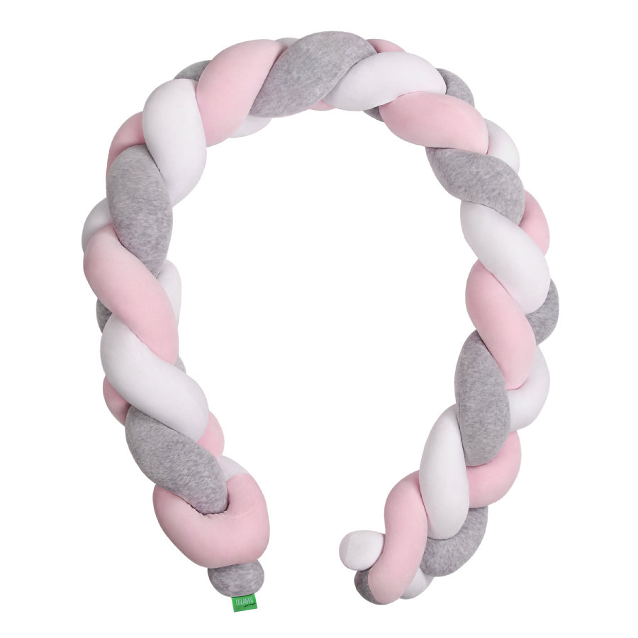 LULANDO Tour de lit enfant tressé gris/rose/blanc 300 cm