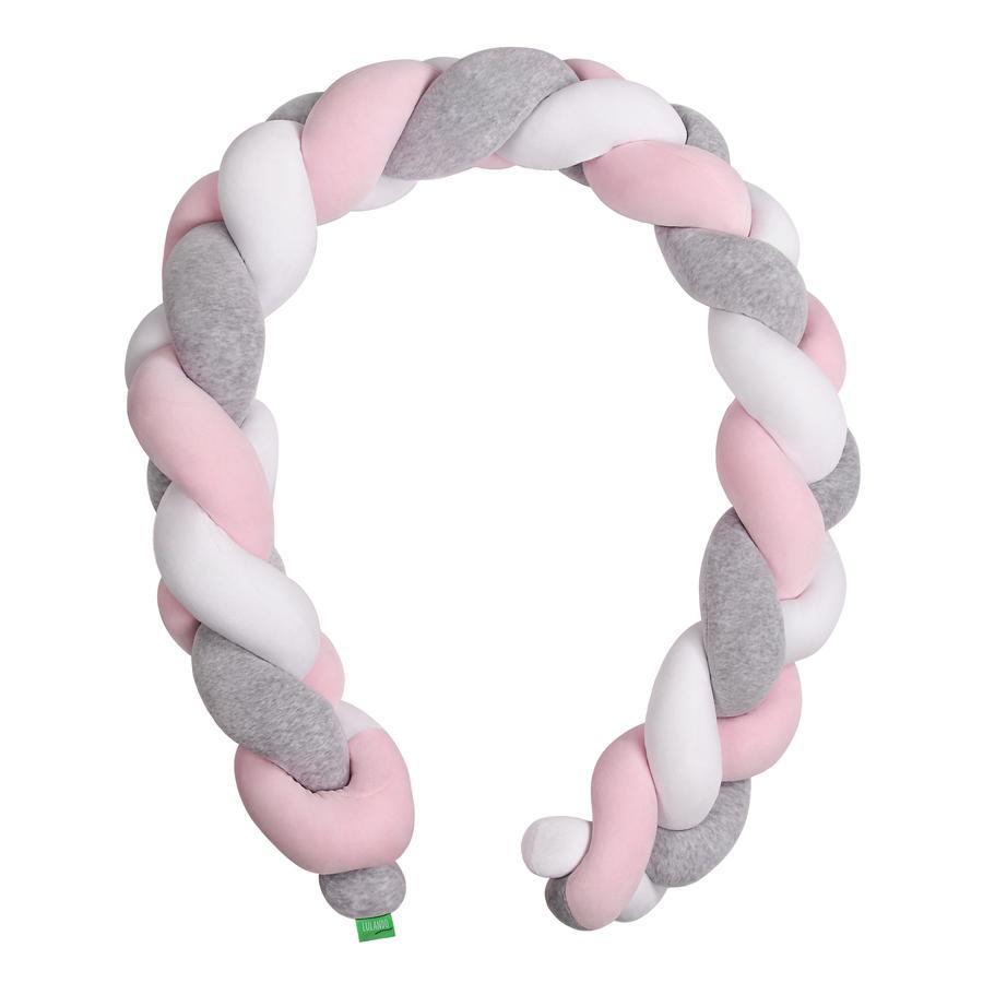 LULANDO Tour de lit enfant traversin tressé gris/rose/blanc 200 cm