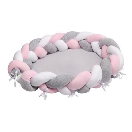 LULANDO Babynest multifunktionell flätdesign vit rosa grå
