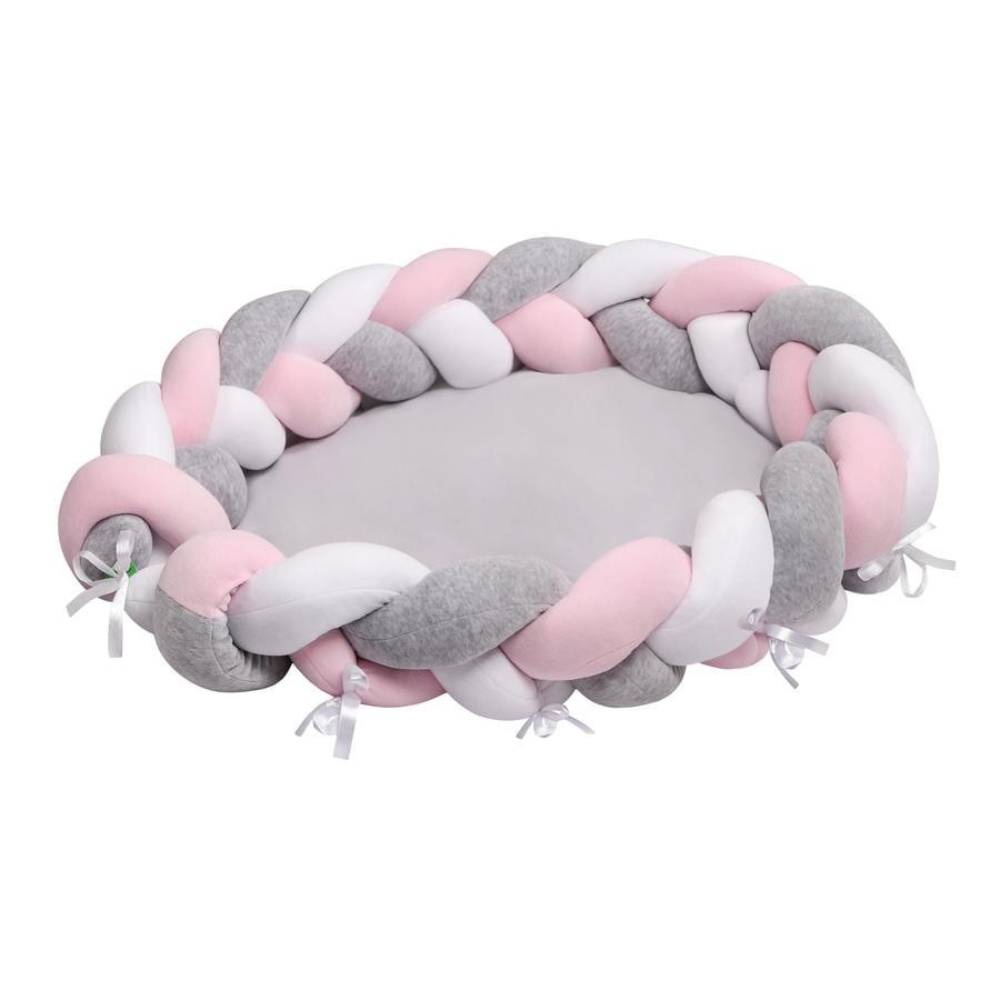 LULANDO multifunksjonelt babynest flettedesign hvit/rosa/grå