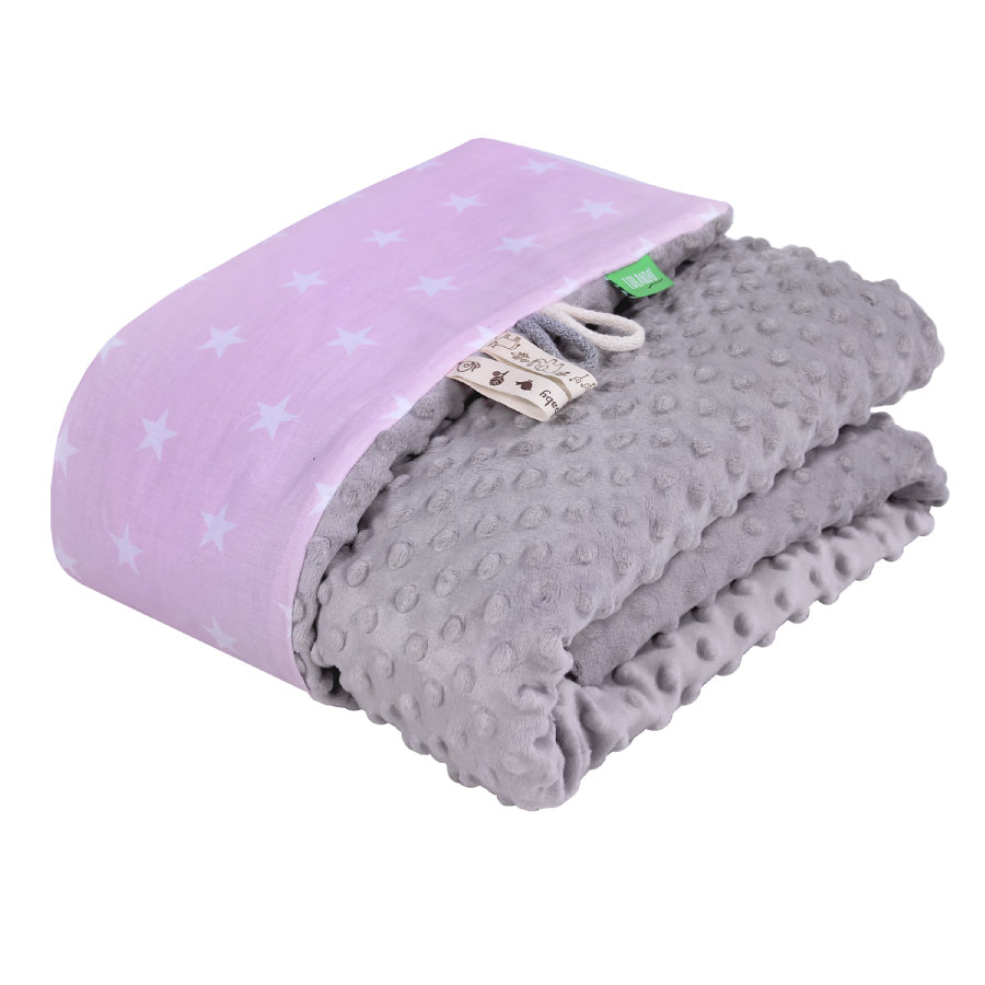 LULANDO Minky babyteppe 80 x 100 cm stjerner rosa/grå