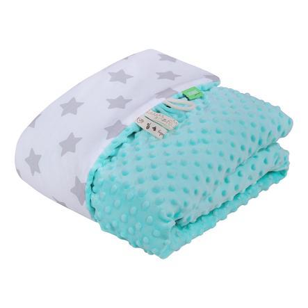 LULANDO Babydecke Minky Sterne weiß/mint 80 x 100 cm