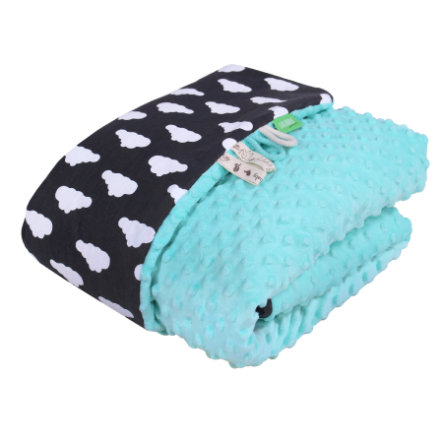 LULANDO Baby dekenje Minky wolkje zwart/mint/mint 80 x 100 cm