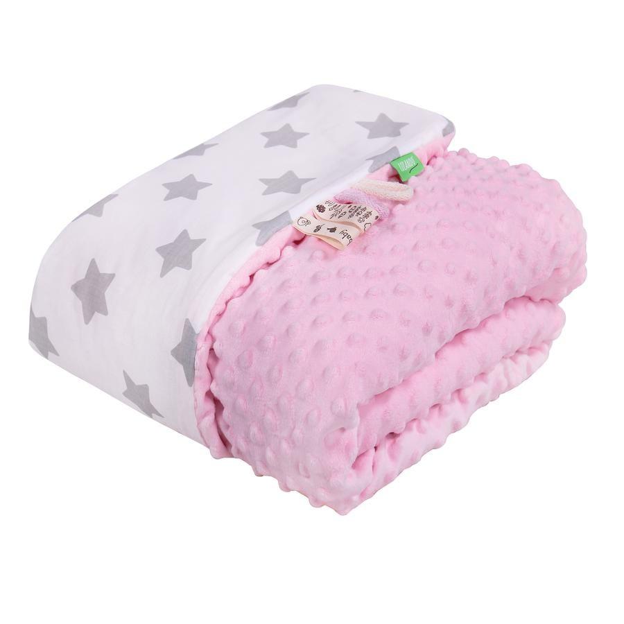 LULANDO deka Minky hvězdičky bílá/růžová 80 x 100 cm