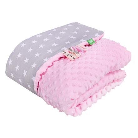 LULANDO Couverture bébé Minky étoiles rose/gris 80x100 cm