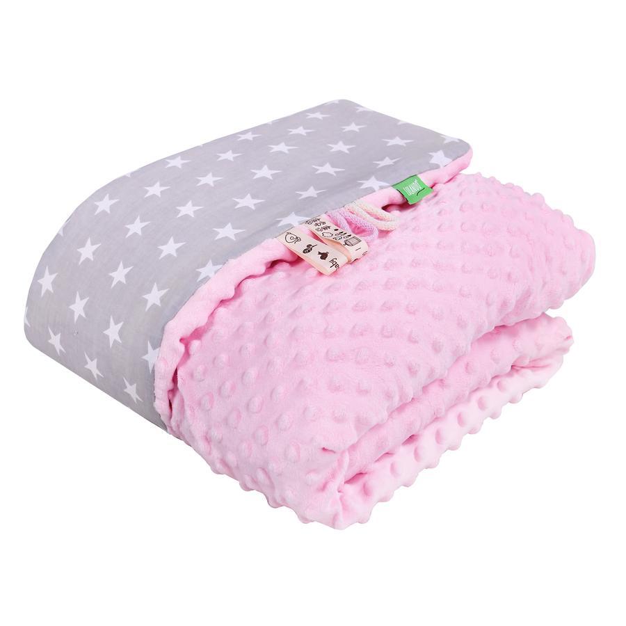 LULANDO deka Minky hvězdičky šedá/růžová 80 x 100 cm