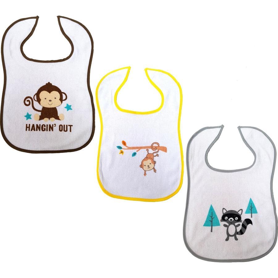 HAT & CO Bavoir Velcro singe singe singe hérisson singe 3-pack