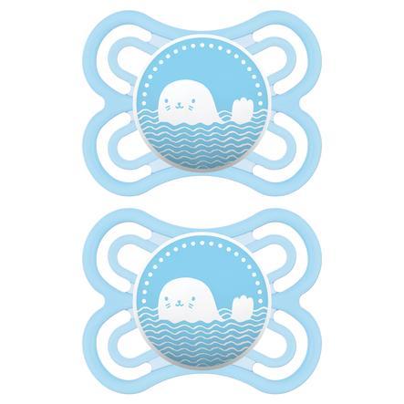 MAM ciuccio Perfect blu 0 - 6 mesi in silicone 2 pezzi
