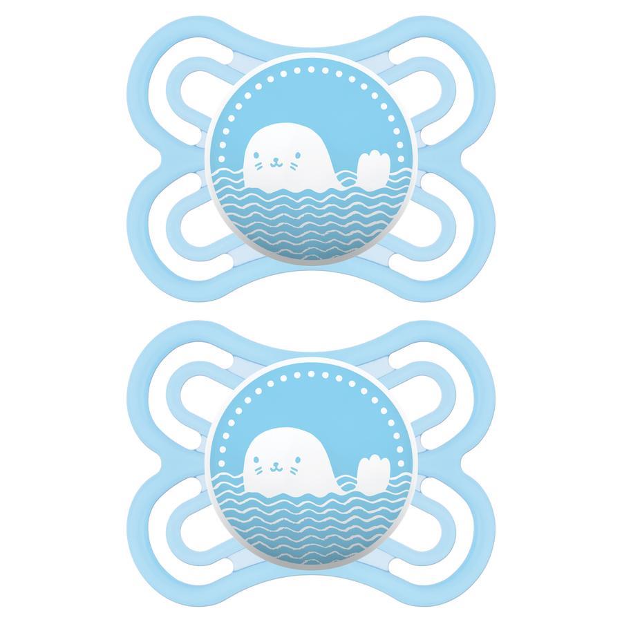 MAM sucette Perfect bleue 0 - 6 mois silicone 2 pièces