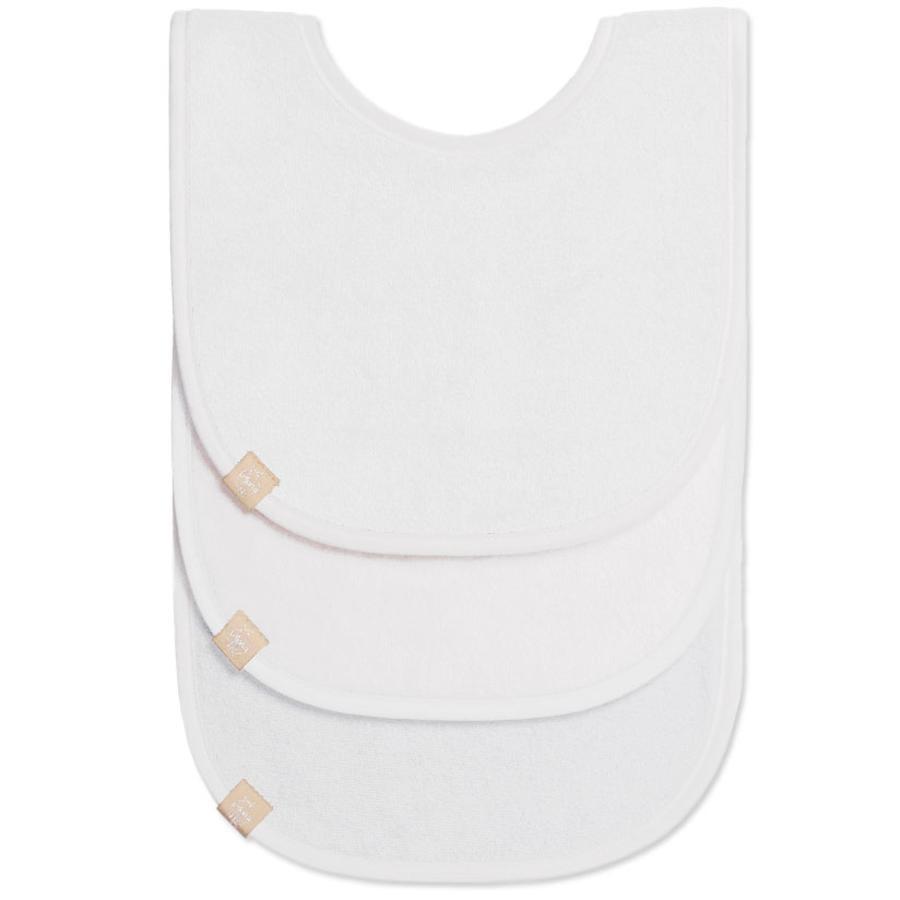 LÄSSIG bryndáček Newborn bib white 3- dílné balení 0-12 měsíců