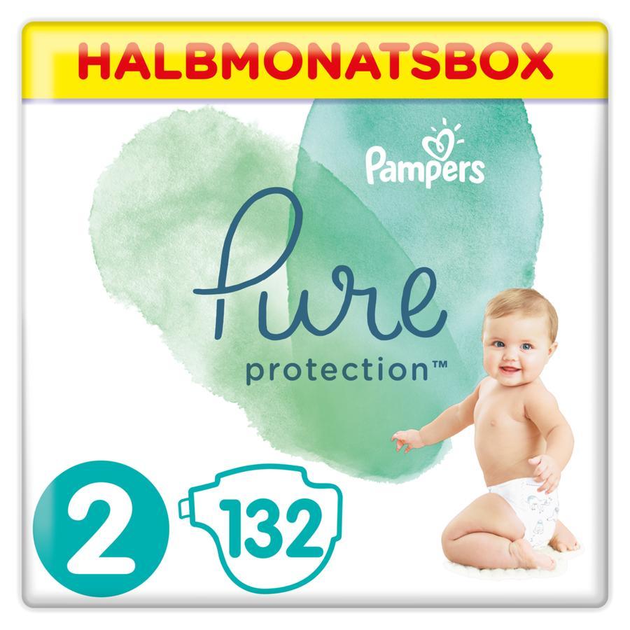 Pampers Pañales Pure Protection Tamaño 2 Mini 132 Pañales 4 - 8 kg Caja medio mes