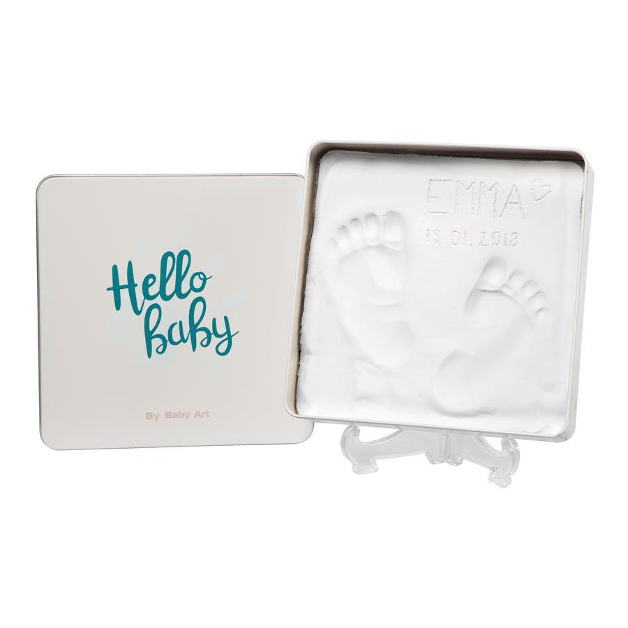 Baby Art gipsen gegoten set box - Magic doos, vierkant, Essentials turkoois, vierkant