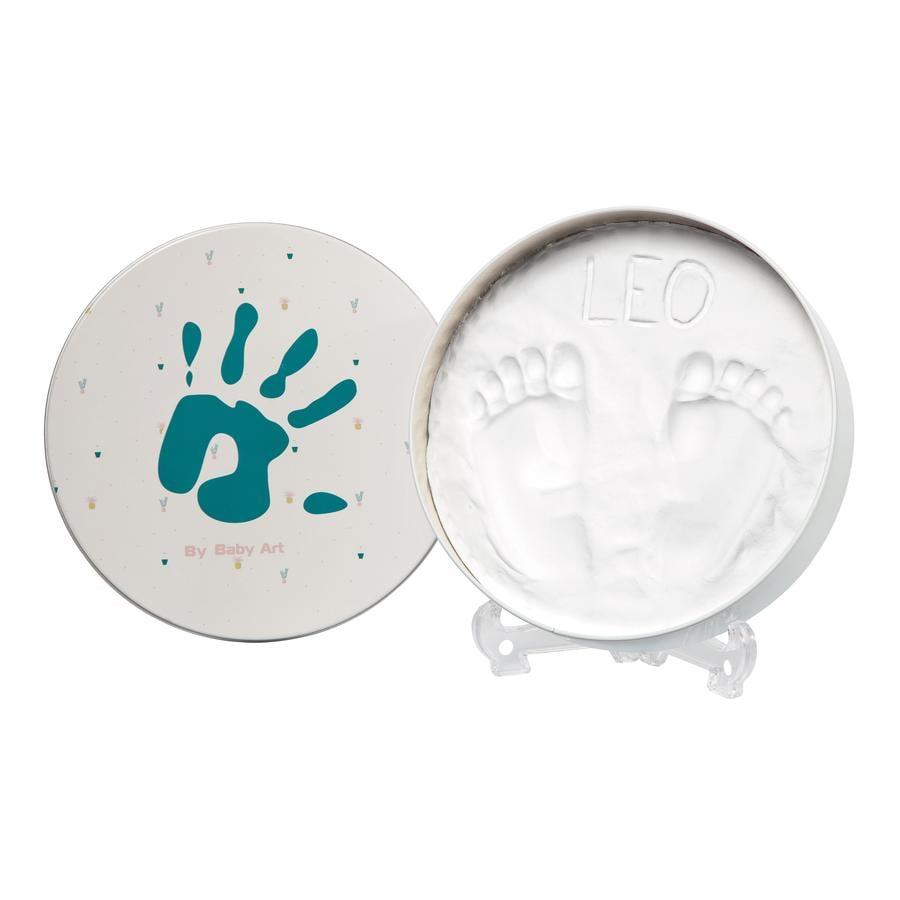Baby Art Gips gegoten set box - Magic doos, rond, turkoois, Essentials turkoois