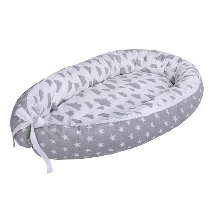 LULANDO Babynest multifunktional Wölkchen weiß/ Sternchen grau