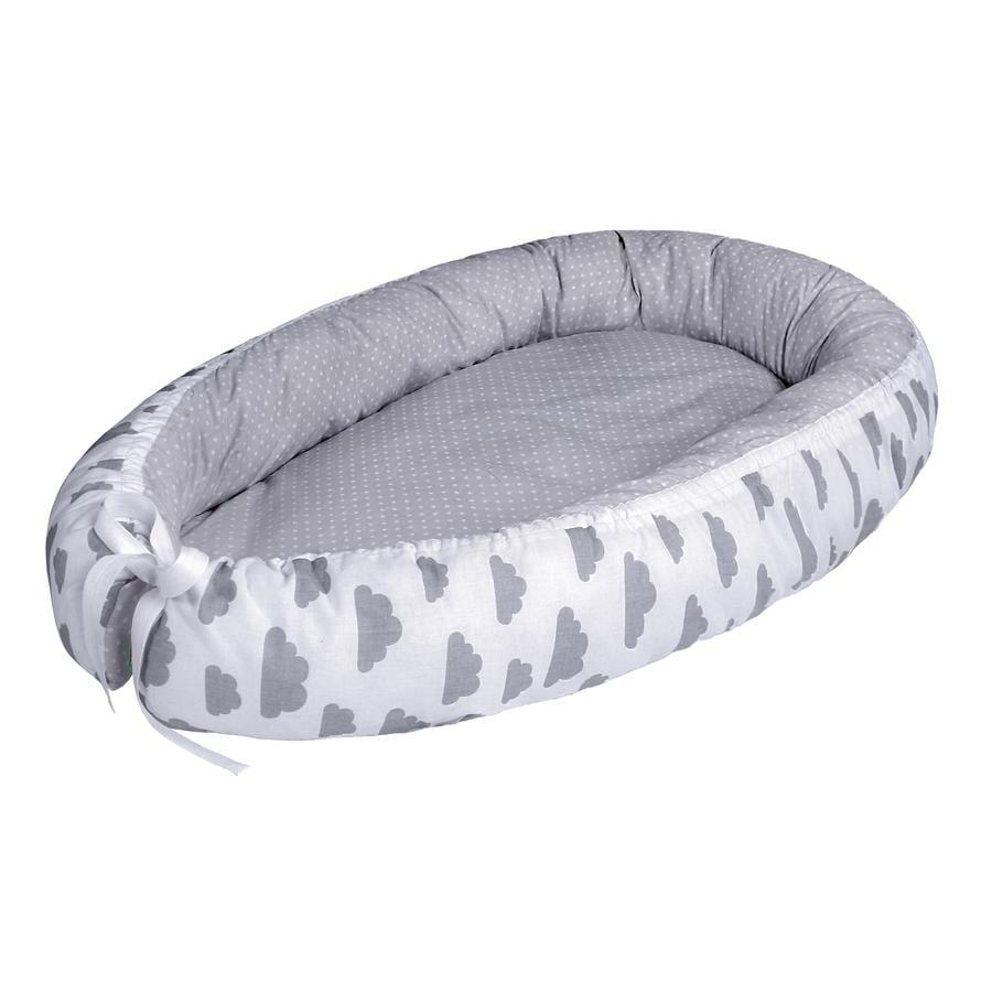 LULANDO Babynest multifunktional Wölkchen weiß/ Pünktchen grau