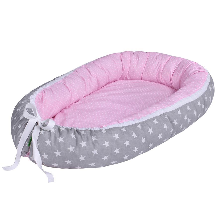 LULANDO Babynest multifunktional Sternchen grau/ Pünktchen rosa