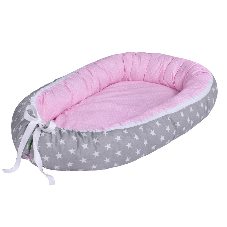 LULANDO Babynest multifunzionale Stelle/pois, grigio/rosa