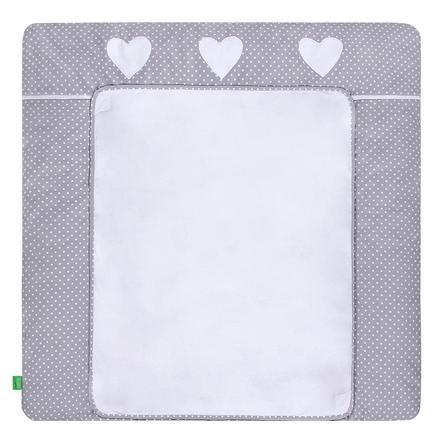 LULANDO Wickelauflage mit 2 Bezügen Pünktchen grau Herz 76 x 76 cm