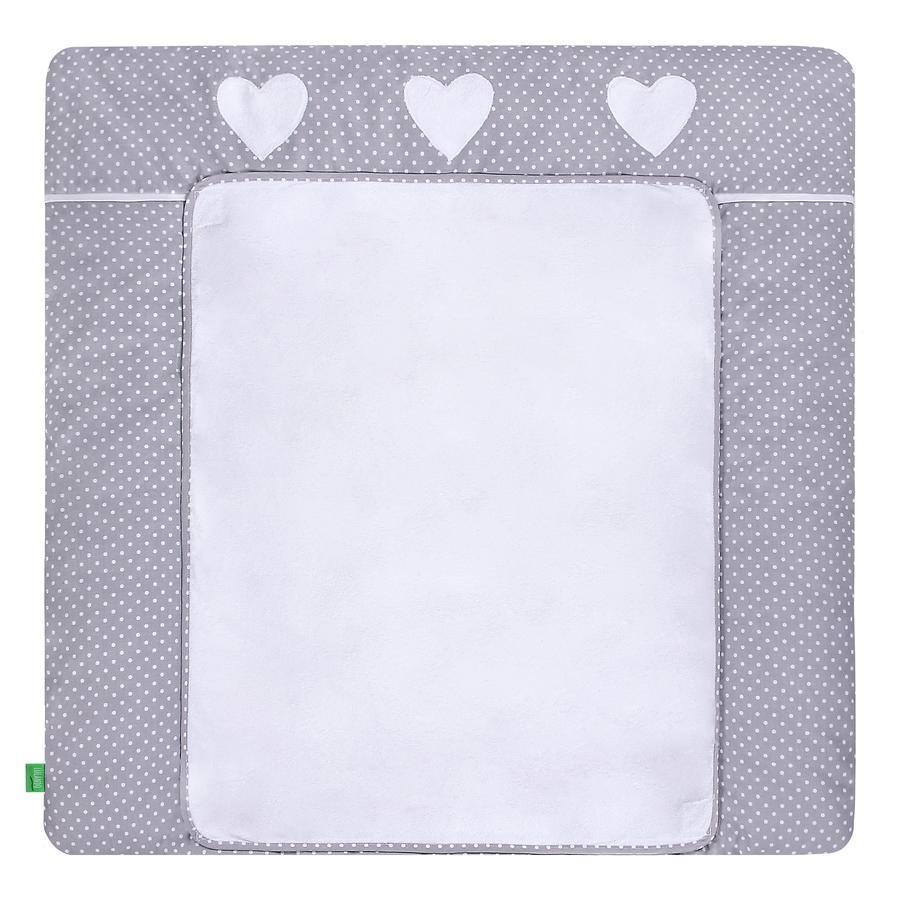 LULANDO pusleunderlag med 2 betræk prikker grå hjerter76 x 76 cm